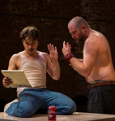 Pared down collaborators Austin (Kevin Viol, left) and Lee (Joseph Wiens). (Michael Brosilow)