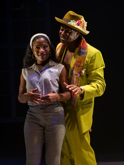 Melanie Brezill as the girl who can't resist the handsome Griffith (Kamal Angelo Bolden), or is it his dazzling suit? (Michael Brosilow)