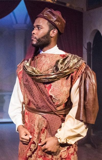 Ira Aldridge (Brandon Greenhouse) dons Othello's finery. (Dean La Prairie)