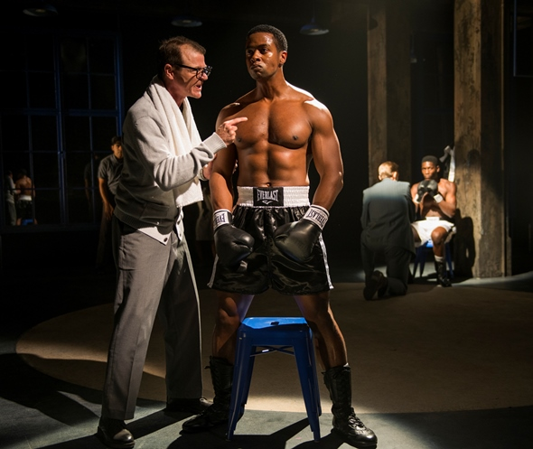 Emile Griffith (Kamal Angelo Bolden) gets some stern instruction from his manager (Thomas J. Cox). (Michael Brosilow)