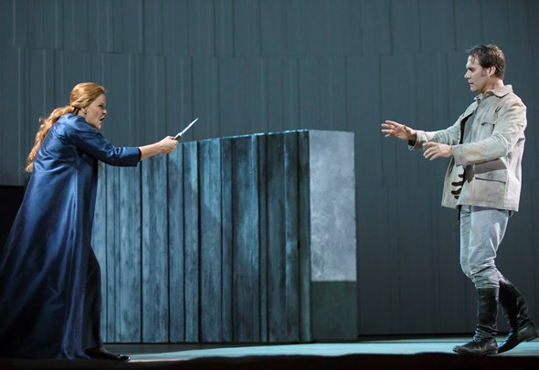 The Carthaginian Queen Dido (Susan Graham) turns the point of her fury on Aeneas (Brand Jovanovich). (Todd Rosenberg)