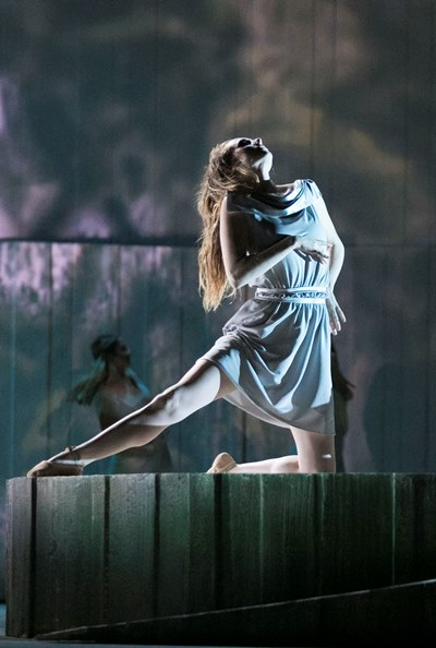 Dancers perform a dream sequence as Dido finds herself drawn to the heroic Aeneas. (Todd Rosenberg)
