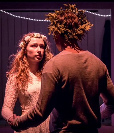 The grown-up Perdita, or the lost one (Eleanor McLoughlin), meets her prince (Sam Woolf) at a sheep-shearing. (Johan Persson)