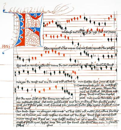 One of Oswald von Wolkenstein's compositions in its vibrant manuscript.