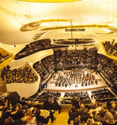 Curvaceous clouds and balcony structures contribute to the Philharmonie's detailed sound.