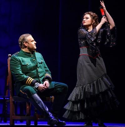 Carmen (Ekaterina Gubanova) dances for her latest lover Don Jose (Joseph Calleja). (Todd Rosenberg)
