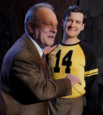 Willy (Brian Parry) nearly bursts with pride for son Biff (Matt Edmonds) the football star. (Kimberly Loughlin)
