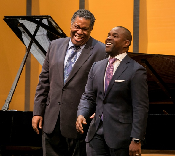 Bass-baritone Eric Owens and tenor Lawrence Brownlee: serious guys having serious fun. (Todd Rosenberg)