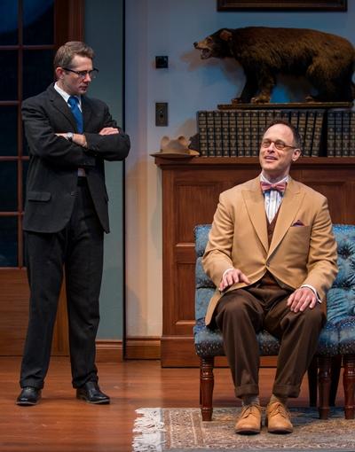 A psychiatrist (Erik Hellman) asks Elwood (Timothy Edward Kane) to tell him about the invisible rabbit Harvey. (Michael Brosilow)