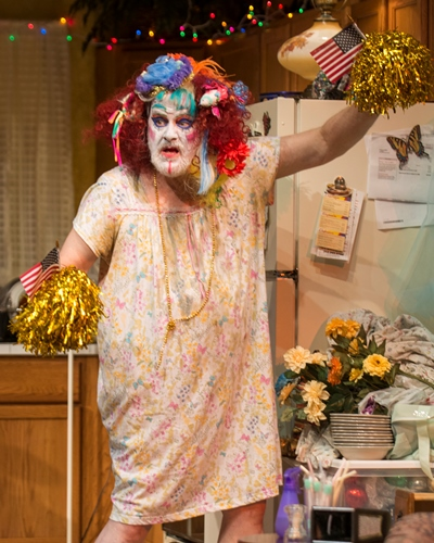 Somewhere under the wig, slathered makeup and dress is Dad (Francis Guinan). (Michael Brosilow)