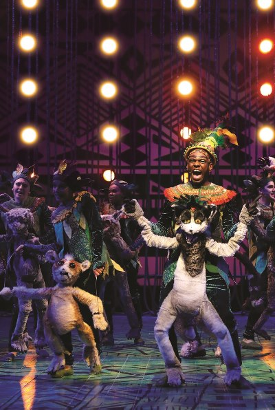 """Puppets and """"real"""" animals mix it up in the charming musical 'Madagascar.' (Liz Lauren)"""