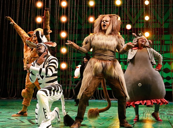 Animal pals make a break for the wide world in the musical 'Madagascar.' (Liz Lauren)
