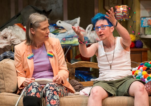 Paige (Amy Morton) and young Max (Em Grosland) have turned their home into a garden of calamity. (Michael Brosilow)