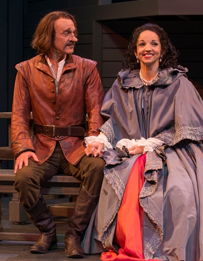 Loser by a nose, Cyrano (James Ridge) must concede that Roxane (Laura Rook) loves someone else. (Michael Brosilow)