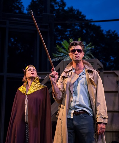King Antiochus (Tracy Michelle Arnold) dispatches an assassin (Marcus Truschinski) to dispatch Pericles. (Liz Lauren)