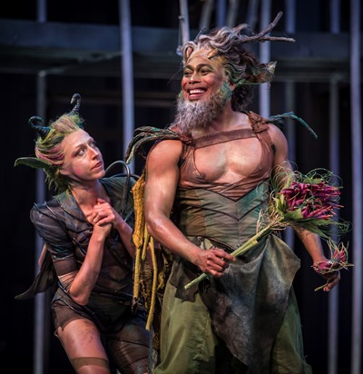 Puck (Cristina Panfilio) is ever solicitous of the fairy king Oberon (Gavin Lawrence). (Liz Lauren)