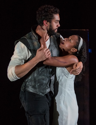 Abigail ( Naima Hebrail Kidjo) clings to her former lover John Proctor (Travis Knight) in 'The Crucible.' (Michael Brosilow)