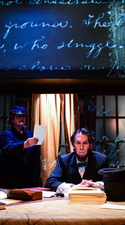 Lawrence Grimm's Lincoln responds with deep emotion to the cost of lives in war. (Evan Hanover)