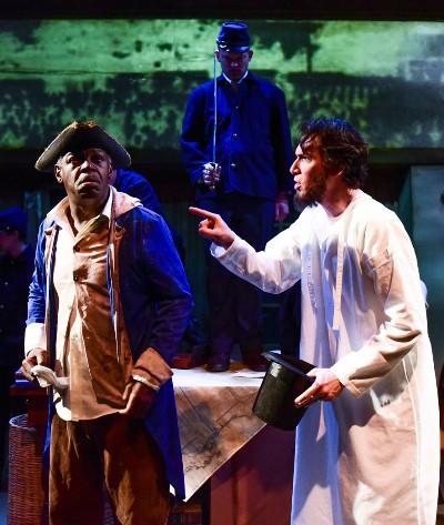 The sleepless president (Lawrence Grimm) meets an old soldier (Darren Jones) who served under Washington. (Evan Hanover)