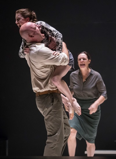 A scream of pain rages through Eddie (Ian Bedford), his niece Catherine (Catherine Combs) and his wife Beatrice (Andrus Nichols) in 'A View from the Bridge.' (Liz Lauren)