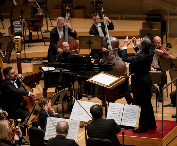 """With Riccardo Muti conducting, virtuoso Kirill Gerstein sat in as the """"incidental"""" pianist in Srauss' 'Le bourgeois gentilhomme.' (Todd Rosenberg)"""