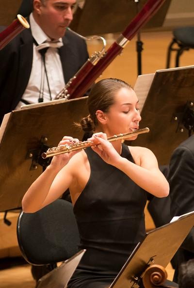 Flutist Sofia Viland's solos added luster in Shostakovich's Symphony No. 9. (Todd Rosenberg)