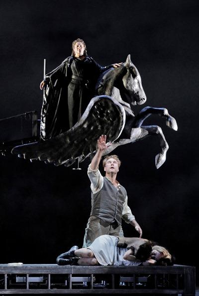 Brunnhilde (Christine Goerke) watches over Siegmund (Brandon Jovanovich) and the sleeping Sieglinde (Elisabet Strid).