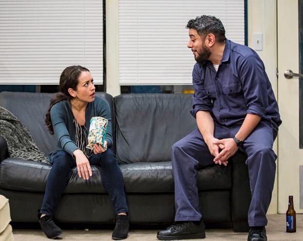 As writer Lucia (Sari Sanchez) struggles in he new job, custodian Abel (Eddie Martinez) offers calm counsel. (Liz Lauren)