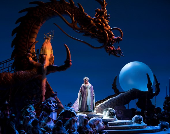"The Lyric Opera's ""Turandot"" unfolds on splendorous set designed by Allen Charles Klein. (Todd Rosenberg)"