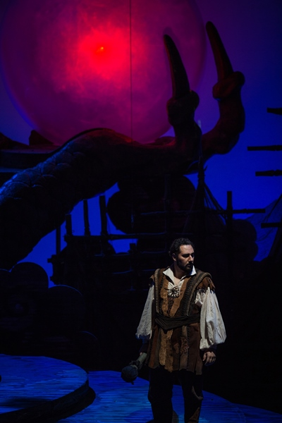 Under a blood moon, Calaf (Stefano La Colla) observes that no one is sleeping - nessun dorma. (Todd Rosenberg)