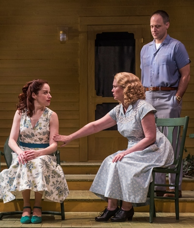 Kate (Kate Collins) offers assurance to Annie (Heidi Kettenring) as Chris (Timothy Edward Kane) looks on. (Michael Brosilow)