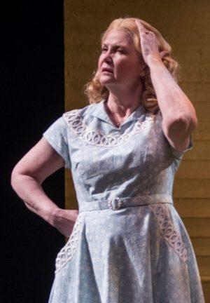 Kate Collins as Joe Keller's wife Kate, share-holder of his secret. (Michael Brosilow)