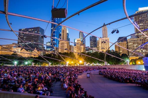 Millennium Park, home of the Grant Park Music Festival, sprawls below the Chicago skyline.