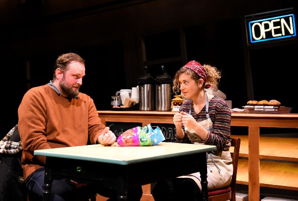 Rufus (Joseph Wiens) and Mary (Daniela Colluci) share perspectives and a large bag of gummy worms. (Evan Hanover photo)