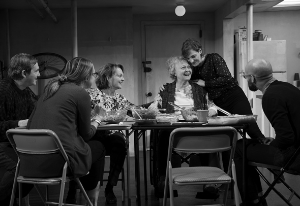 A family gathers for the Thanksgiving meal in Stephen Karam's 'The Humans.' (Julieta Cervantes photo)