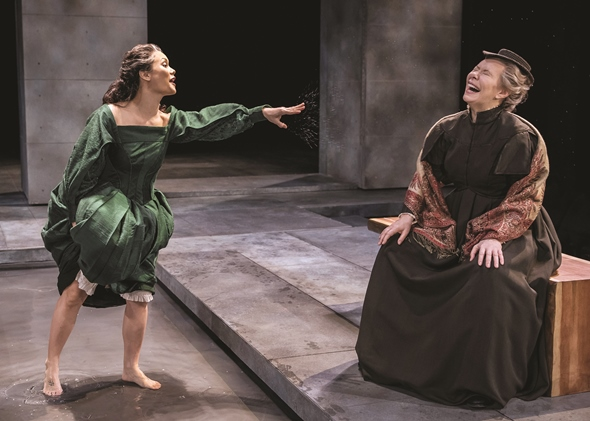 Mary (K.K. Moggie) share her lark in a wading pool with her nurse (Barbara Robertson). (Michael Brosilow)