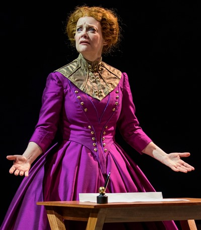 What to do? Queen Elizabeth (Kellie Overbey) agonizes over signing Mary's death warrant. (Michael Brosilow)