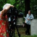 Michael TIlson Thomas at Charles Ives' grave during filming of the Keeping Score Ives episode
