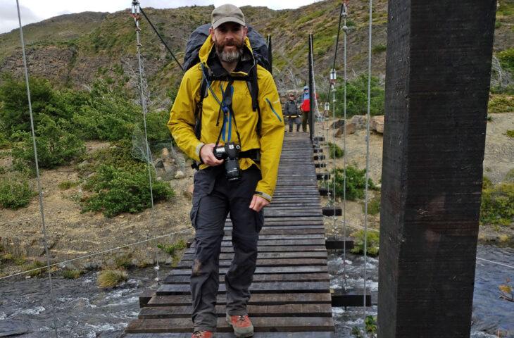 Hiker on Skottsberg Bridge 6 Feb 2019