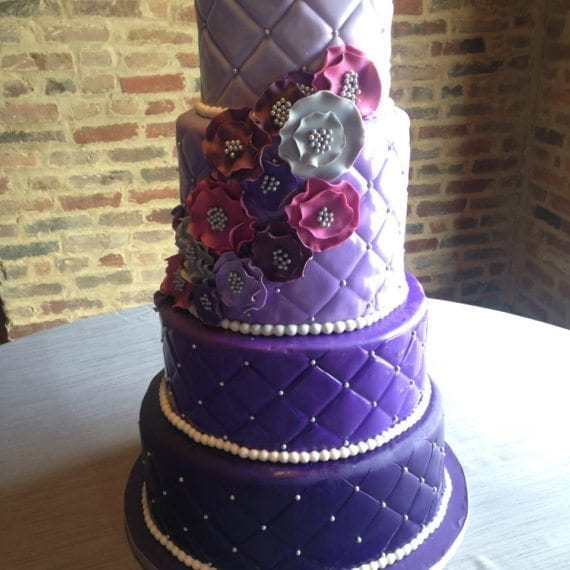 Ombre Purple Quilted Wedding Cake