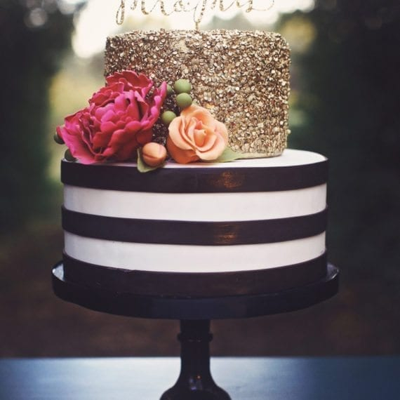 Black & White Stripes with Gold Sequins