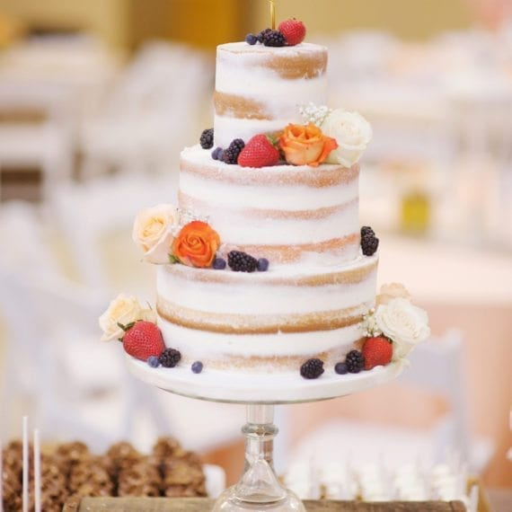 Naked Cake with Florals & Berries