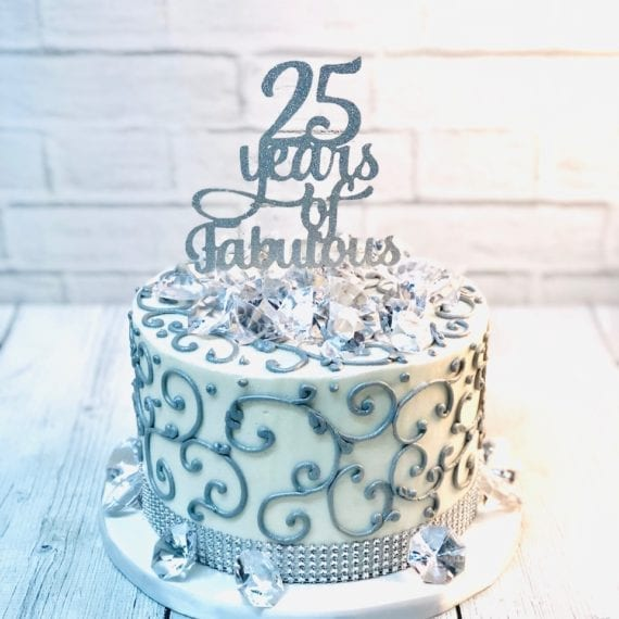 Silver Piped Birthday Cake