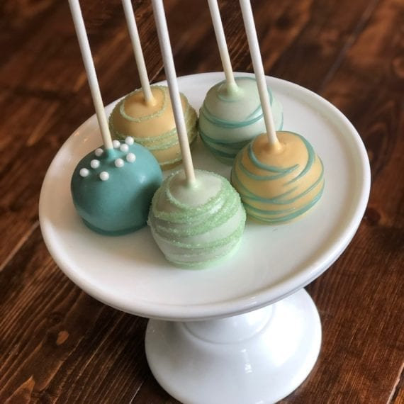 Muted Yellow, Green & Teal Cake Pops