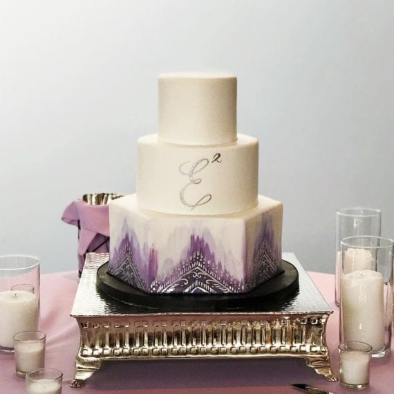 White, Purple & Silver Monogrammed & Painted Wedding Cake with Hexagon Tier