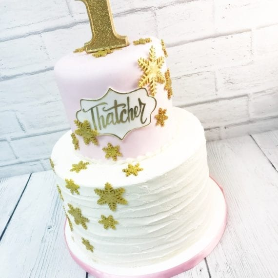 Textured Buttercream Lines, Blush Pink & Gold Winter Snowflakes