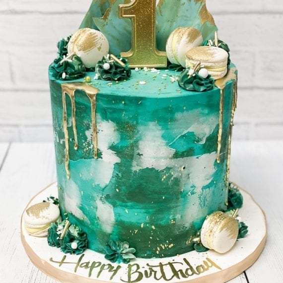 Turquoise, Teal & Gold Buttercream Drip Cake