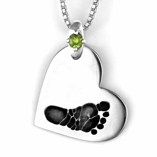 Silver Foot print Side Heart Necklace with Gemstone Accent