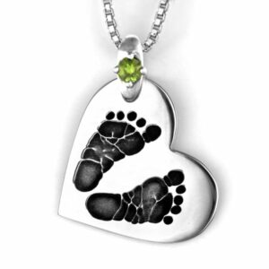 Silver Footprint Side Heart Necklace with Gemstone Accent