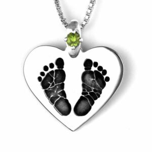 Silver Footprint Heart Necklace with Gemstone Accent
